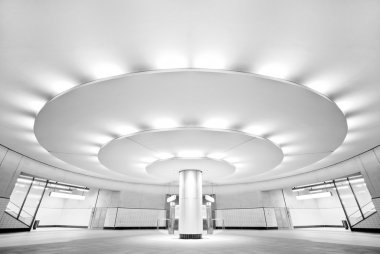 Ultra modern black and white interior of the public subway station