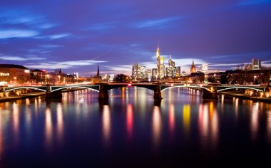 Frankfurt city on sunset