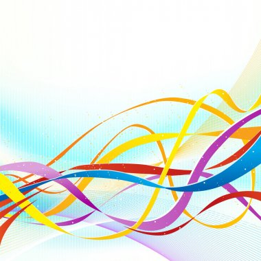 Abstract colorful ribbons flowing on soft blue background.