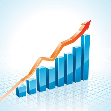 3d business growth bar graph illustration clip art vector