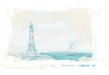 Lighthouse seen from a tiny beach - Grunge Poster