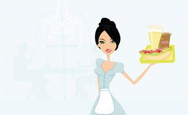 Beautiful waitress with a tray