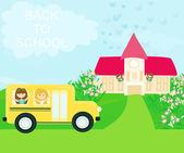 školní autobus míří do školy s šťastných dětí
