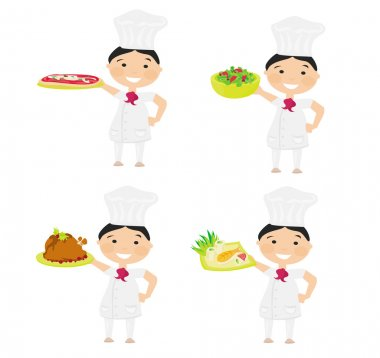 Cheerful chef serving dishes