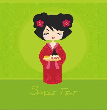 Beautiful Asian girl enjoy sushi - menu template