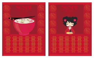 Template of traditional Japanese food menu set