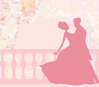 Floral greeting card with silhouette of romantic couple stock vector