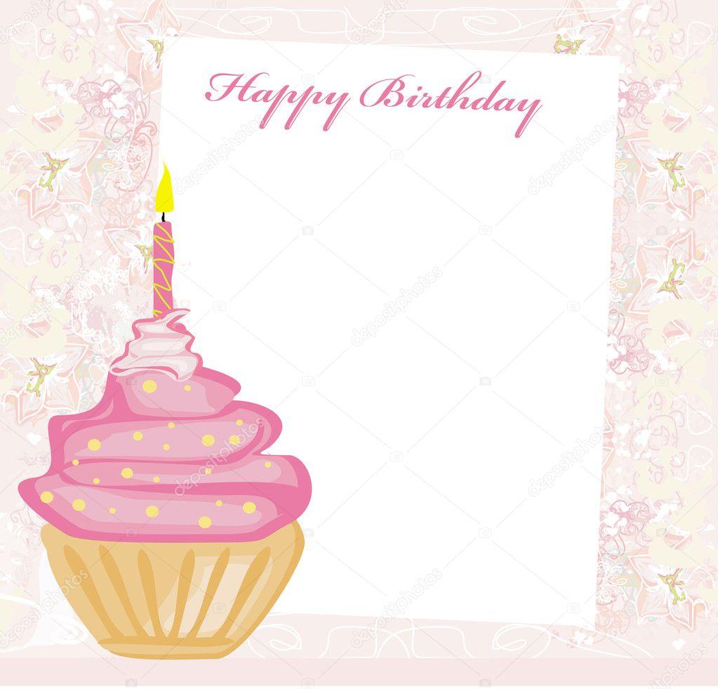 Illustration of cute retro cupcakes card - Happy Birthday Card