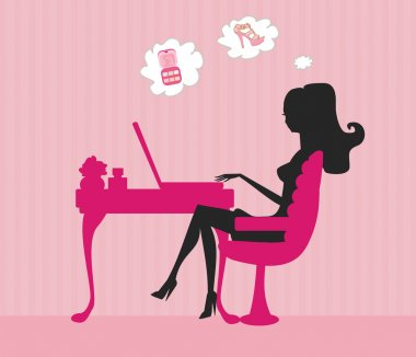 Online shopping - young woman sitting with laptop compute