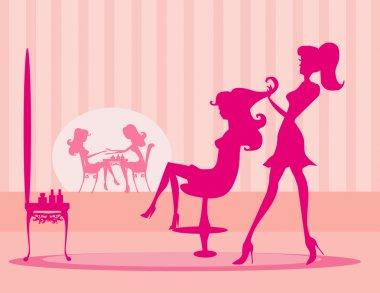 Illustration of the beautiful woman in beauty salon stock vector