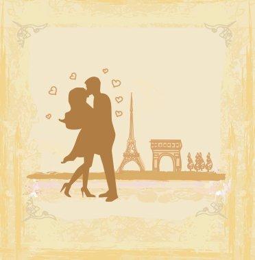 Romantic couple in Paris kissing near the Eiffel Tower Retro card