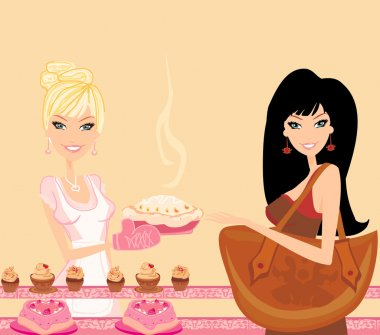 Illustration of a woman buying cake at a bakery store