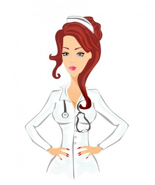 Beautiful cartoon nurse on white background
