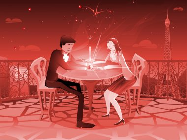 Two sweethearts have a romantic moment with a grand view of the stars and the eiffel tower clip art vector