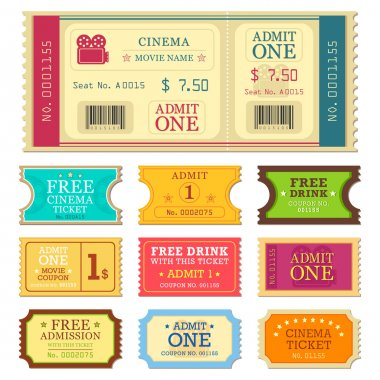 Vector illustration of set of different movie ticket stock vector
