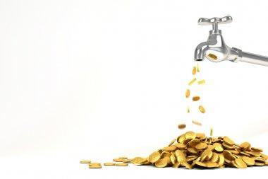3d Golden Coin from Faucet