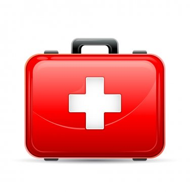 Vector illustration of first aid box on white background stock vector