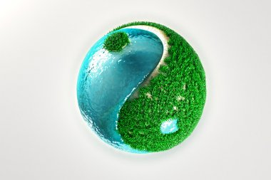 Yin Yang with grass and water