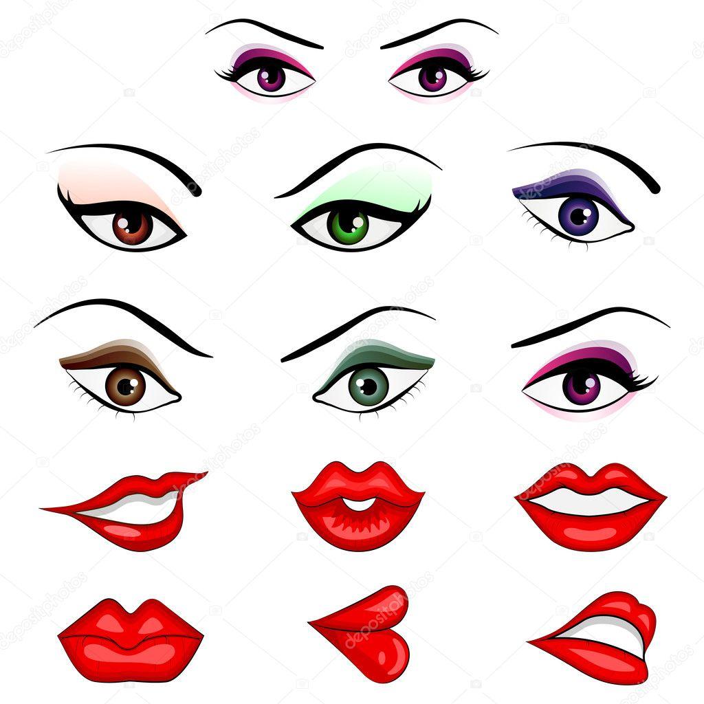 eyes and lips stock vector stockshoppe 9814096 rh depositphotos com Drawings of Eyes and Lips Drawings of Eyes and Lips