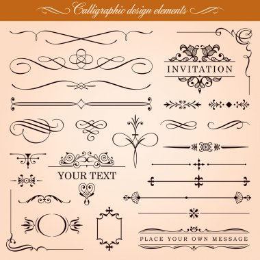Set of vector calligraphic design elements and page decoration: vignettes, borders, ornaments. clip art vector