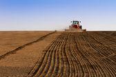 zemědělství traktor setí semen a pěstování pole
