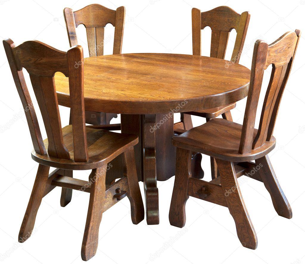 conjunto de mesa de cocina de madera maciza, aislado — Foto de stock ...