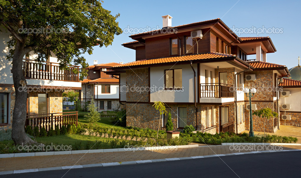 sch ne h user in sveti vlas bulgarien redaktionelles stockfoto mazzachi 9150536. Black Bedroom Furniture Sets. Home Design Ideas