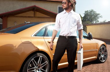 Portrait of handsome business man whit suitcase near the car