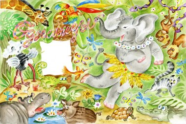 Happy elephant dancing in jungle