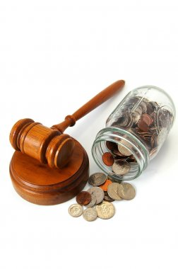 Gavel and assorted coins