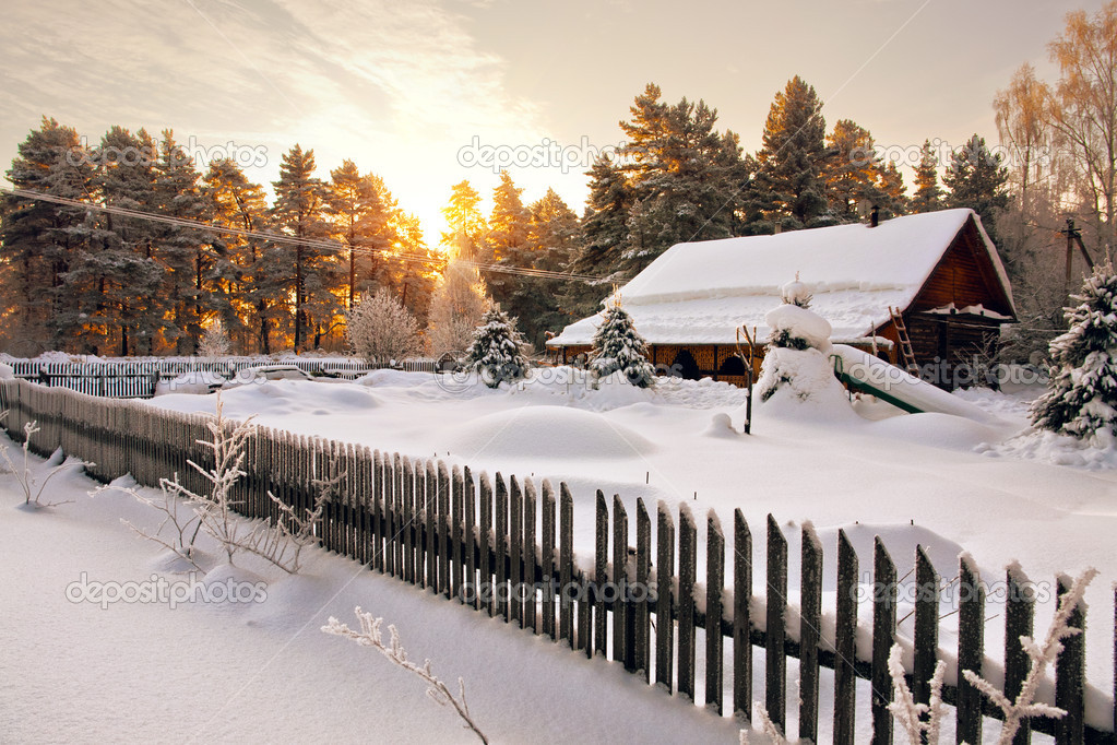 House is surrounded by snow in woods at dawn