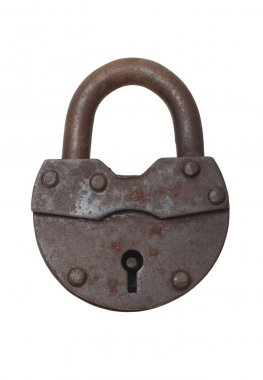 Old lock on a white background (isolated).