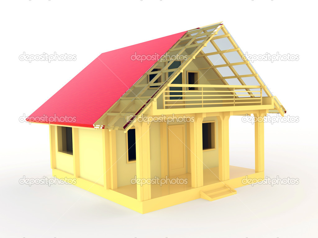 Small wooden house with terrase and balcony stock photo colo.