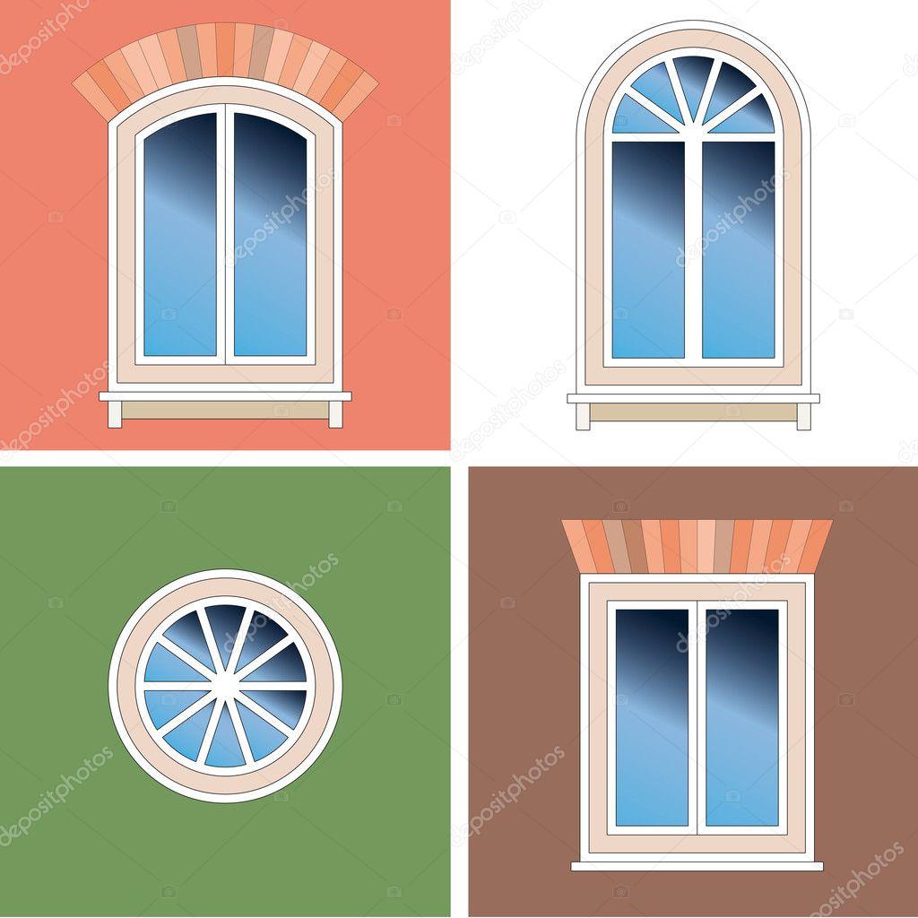 Quattro tipi classici di finestre ad arco con brattice di - Tipi di finestre ...