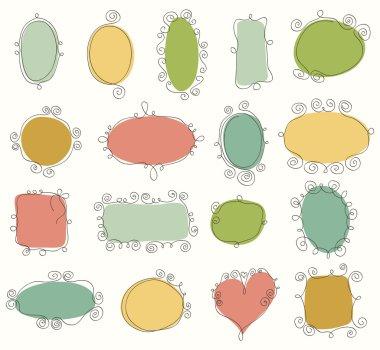 Set of hand drawn vintage frames. Doodle vector design elements