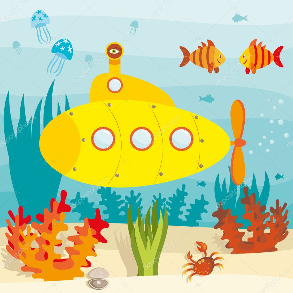 Submarine in ocean