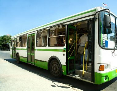 The Passzhirsky bus in a city