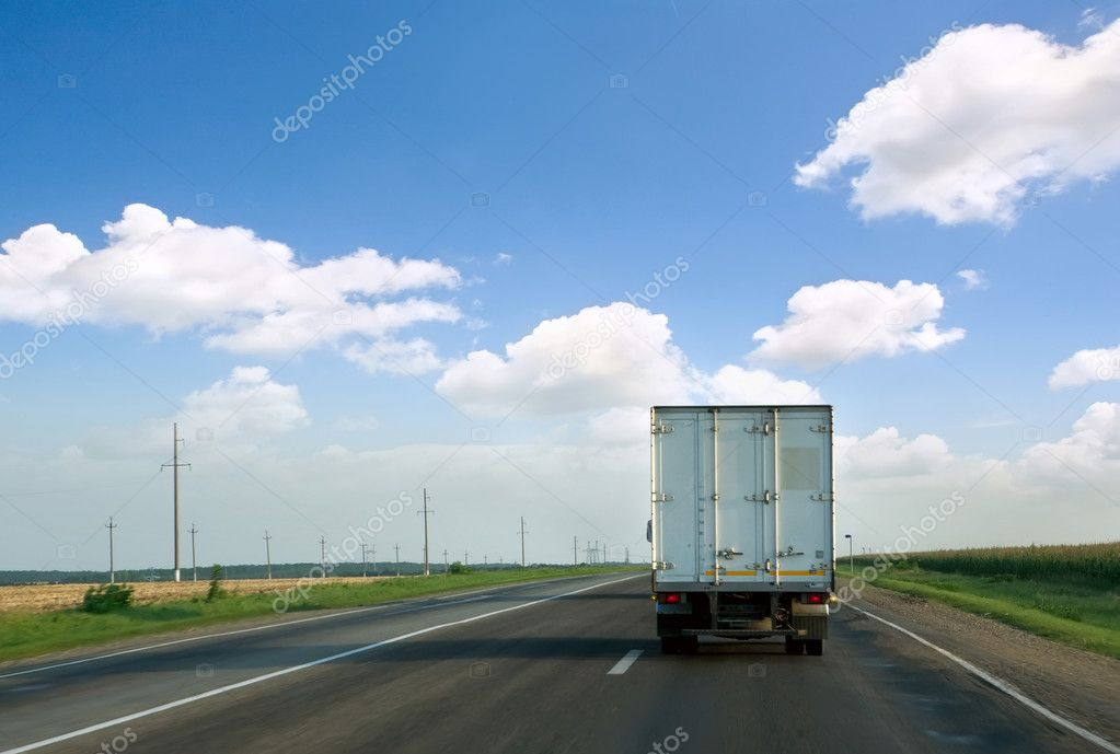 The truck on road.