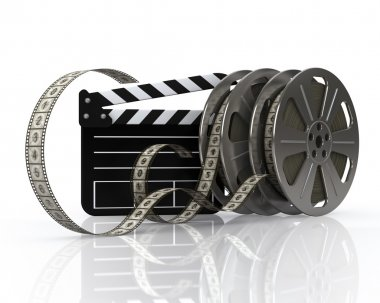 Film reels and film state on a white background