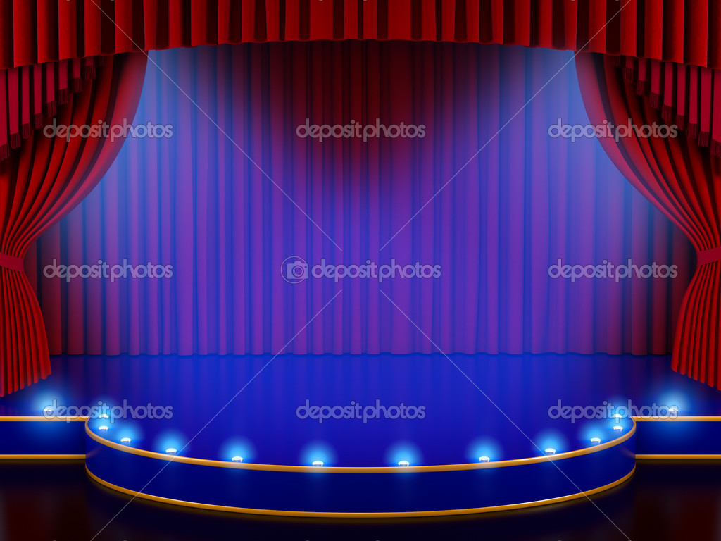 Empty Stage With Red Curtain And Volume Lights 3d Render Stock Photo