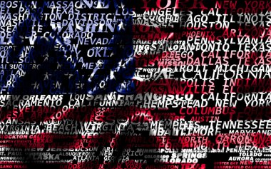 Word cloud formed from the cities of USA