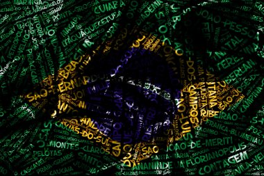 Word cloud formed from the cities of Brazil