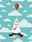 Adrift Carried Away Cartoon Vector Illustration of a Portly Businessman Being Carried Away on a Balloon