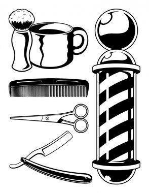 Salon Haircut and Barbershop Elements Cartoon Vector Graphic Set