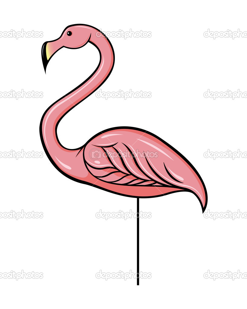 outline of the pink plastic flamingo