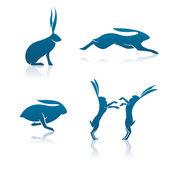Hasensymbol cartoon kaninchen vektor grafik illustration icon und logo set