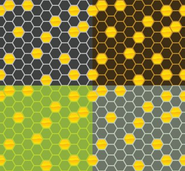 Seamless Vector Honey Comb Patterns