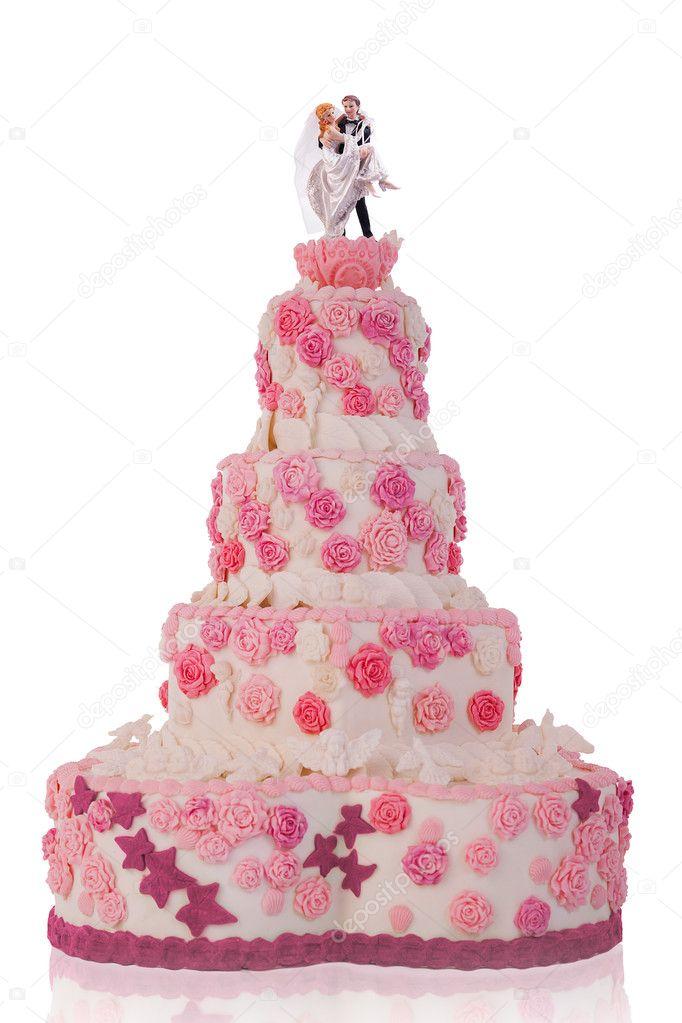 Schone Hochzeitstorte Mit Rosa Rosen Isoliert Auf Weissem