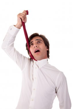 Young business man to hang himself