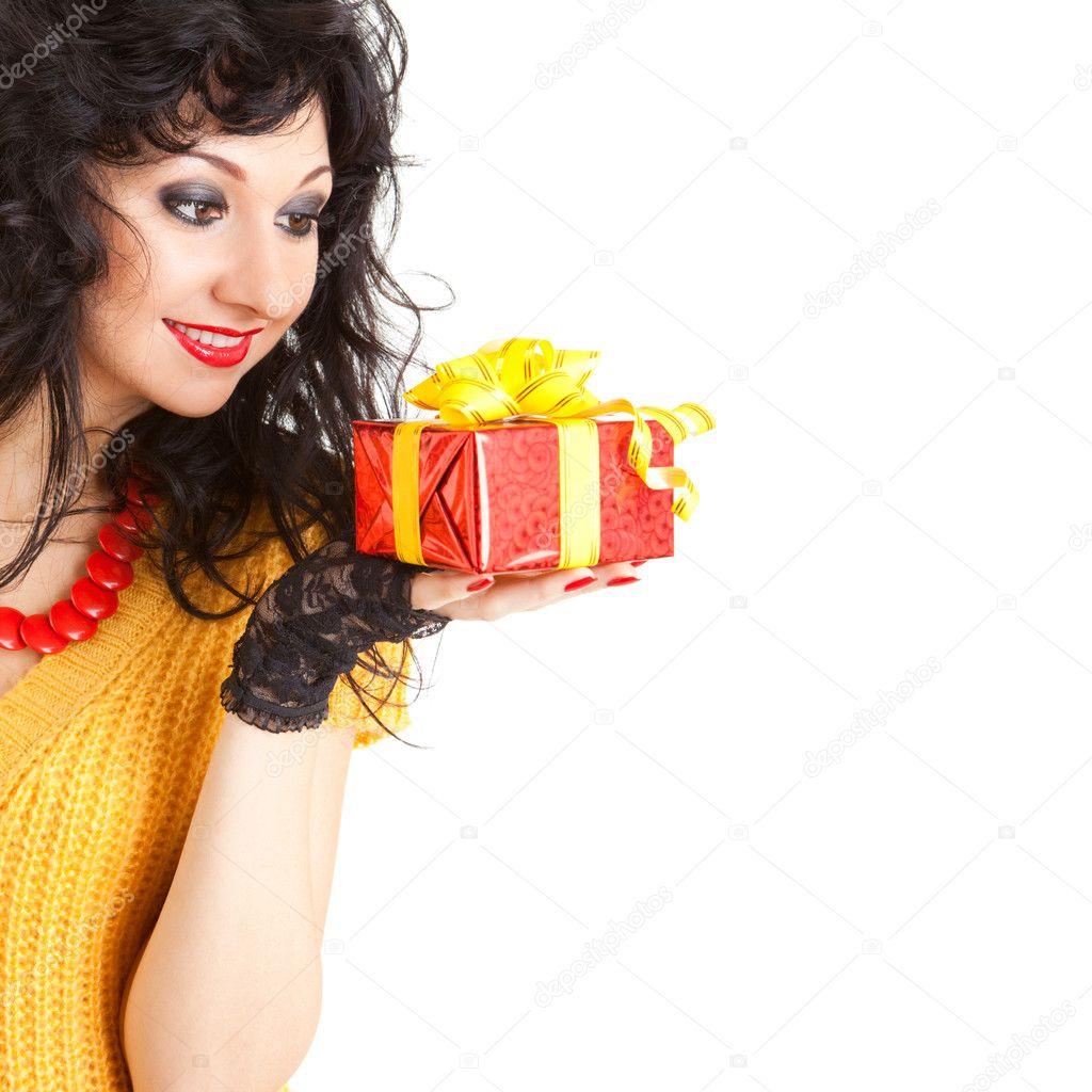 lustige Frau mit Weihnachtsgeschenk — Stockfoto © suravid #9865302